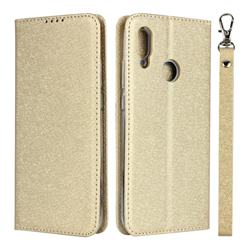 Ultra Slim Magnetic Automatic Suction Silk Lanyard Leather Flip Cover for Huawei P Smart (2019) - Golden