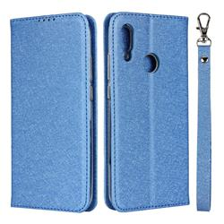 Ultra Slim Magnetic Automatic Suction Silk Lanyard Leather Flip Cover for Huawei P Smart (2019) - Sky Blue