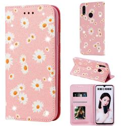 Ultra Slim Daisy Sparkle Glitter Powder Magnetic Leather Wallet Case for Huawei P Smart (2019) - Pink