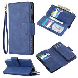 Binfen Color BF02 Sensory Buckle Zipper Multifunction Leather Phone Wallet for Huawei P Smart (2019) - Blue