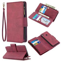 Binfen Color BF02 Sensory Buckle Zipper Multifunction Leather Phone Wallet for Huawei P Smart (2019) - Red Wine
