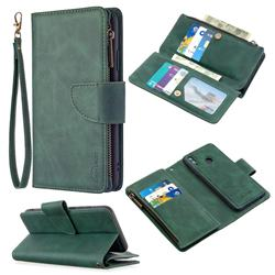 Binfen Color BF02 Sensory Buckle Zipper Multifunction Leather Phone Wallet for Huawei P Smart (2019) - Dark Green
