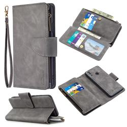 Binfen Color BF02 Sensory Buckle Zipper Multifunction Leather Phone Wallet for Huawei P Smart (2019) - Gray