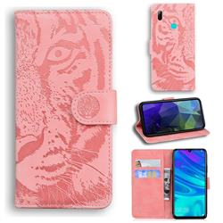 Intricate Embossing Tiger Face Leather Wallet Case for Huawei P Smart (2019) - Pink