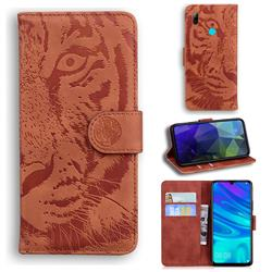Intricate Embossing Tiger Face Leather Wallet Case for Huawei P Smart (2019) - Brown