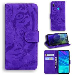 Intricate Embossing Tiger Face Leather Wallet Case for Huawei P Smart (2019) - Purple