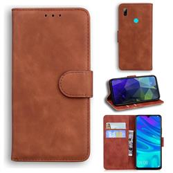 Retro Classic Skin Feel Leather Wallet Phone Case for Huawei P Smart (2019) - Brown