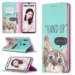 Hand Up Cat Slim Magnetic Attraction Wallet Flip Cover for Huawei P Smart (2019)
