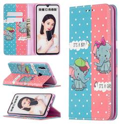 Elephant Boy and Girl Slim Magnetic Attraction Wallet Flip Cover for Huawei P Smart (2019)