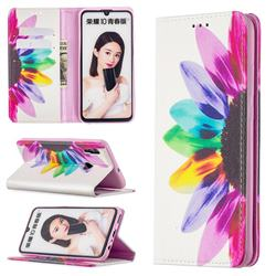 Sun Flower Slim Magnetic Attraction Wallet Flip Cover for Huawei P Smart (2019)