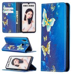 Gold Butterfly Slim Magnetic Attraction Wallet Flip Cover for Huawei P Smart (2019)