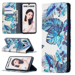 Blue Leaf Slim Magnetic Attraction Wallet Flip Cover for Huawei P Smart (2019)