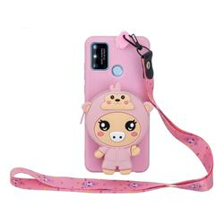Pink Pig Neck Lanyard Zipper Wallet Silicone Case for Huawei P Smart (2020)