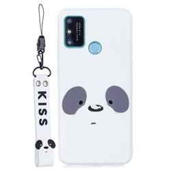 White Feather Panda Soft Kiss Candy Hand Strap Silicone Case for Huawei P Smart (2020)