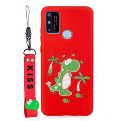 Red Dinosaur Soft Kiss Candy Hand Strap Silicone Case for Huawei P Smart (2020)