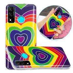 Rainbow Heart Painted Galvanized Electroplating Soft Phone Case Cover for Huawei P Smart (2020)