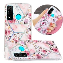 Rose Flower Painted Galvanized Electroplating Soft Phone Case Cover for Huawei P Smart (2020)