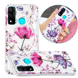 Magnolia Painted Galvanized Electroplating Soft Phone Case Cover for Huawei P Smart (2020)