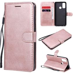 Retro Greek Classic Smooth PU Leather Wallet Phone Case for Huawei P Smart (2020) - Rose Gold