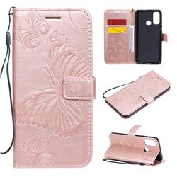 Embossing 3D Butterfly Leather Wallet Case for Huawei P Smart (2020) - Rose Gold