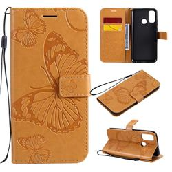 Embossing 3D Butterfly Leather Wallet Case for Huawei P Smart (2020) - Yellow