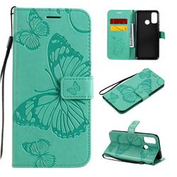 Embossing 3D Butterfly Leather Wallet Case for Huawei P Smart (2020) - Green