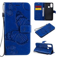 Embossing 3D Butterfly Leather Wallet Case for Huawei P Smart (2020) - Blue