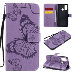 Embossing 3D Butterfly Leather Wallet Case for Huawei P Smart (2020) - Purple