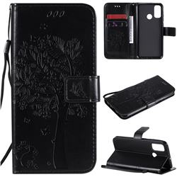 Embossing Butterfly Tree Leather Wallet Case for Huawei P Smart (2020) - Black