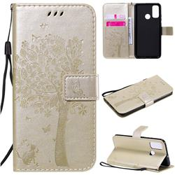 Embossing Butterfly Tree Leather Wallet Case for Huawei P Smart (2020) - Champagne