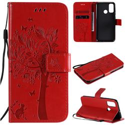 Embossing Butterfly Tree Leather Wallet Case for Huawei P Smart (2020) - Red