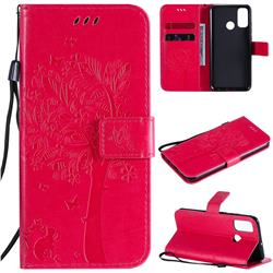 Embossing Butterfly Tree Leather Wallet Case for Huawei P Smart (2020) - Rose