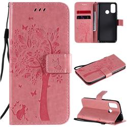 Embossing Butterfly Tree Leather Wallet Case for Huawei P Smart (2020) - Pink