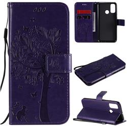 Embossing Butterfly Tree Leather Wallet Case for Huawei P Smart (2020) - Purple