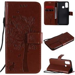 Embossing Butterfly Tree Leather Wallet Case for Huawei P Smart (2020) - Coffee