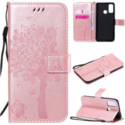 Embossing Butterfly Tree Leather Wallet Case for Huawei P Smart (2020) - Rose Pink