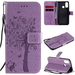 Embossing Butterfly Tree Leather Wallet Case for Huawei P Smart (2020) - Violet
