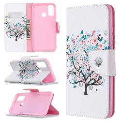 Colorful Tree Leather Wallet Case for Huawei P Smart (2020)
