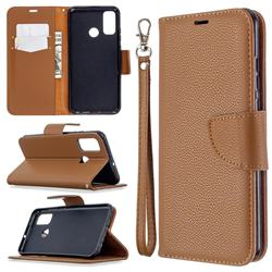 Classic Luxury Litchi Leather Phone Wallet Case for Huawei P Smart (2020) - Brown