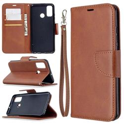 Classic Sheepskin PU Leather Phone Wallet Case for Huawei P Smart (2020) - Brown