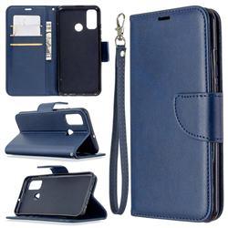 Classic Sheepskin PU Leather Phone Wallet Case for Huawei P Smart (2020) - Blue