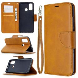 Classic Sheepskin PU Leather Phone Wallet Case for Huawei P Smart (2020) - Yellow