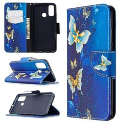 Golden Butterflies Leather Wallet Case for Huawei P Smart (2020)