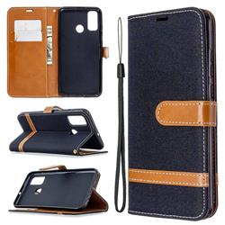 Jeans Cowboy Denim Leather Wallet Case for Huawei P Smart (2020) - Black