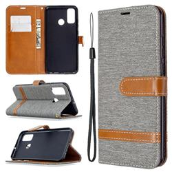 Jeans Cowboy Denim Leather Wallet Case for Huawei P Smart (2020) - Gray