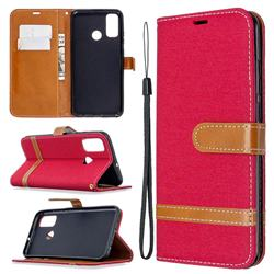 Jeans Cowboy Denim Leather Wallet Case for Huawei P Smart (2020) - Red