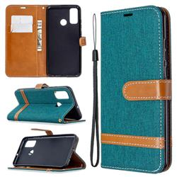 Jeans Cowboy Denim Leather Wallet Case for Huawei P Smart (2020) - Green