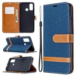 Jeans Cowboy Denim Leather Wallet Case for Huawei P Smart (2020) - Dark Blue