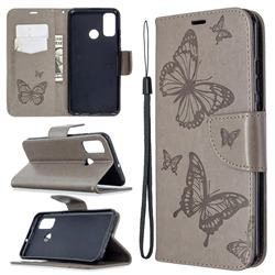Embossing Double Butterfly Leather Wallet Case for Huawei P Smart (2020) - Gray