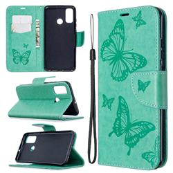 Embossing Double Butterfly Leather Wallet Case for Huawei P Smart (2020) - Green